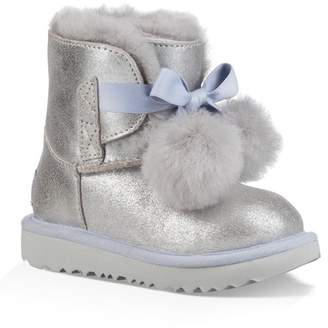 UGG Gita Metallic Genuine Shearling Pom Boot (Toddler & Little Kids)