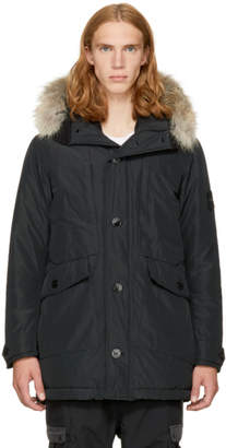 Stone Island Black Down and Fur Jacket