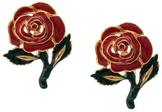 Oscar de la Renta rose drop earrings