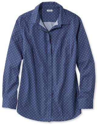 L.L. Bean L.L.Bean Women's Wrinkle-Free Pinpoint Oxford Tunic, Long-Sleeve Slightly Fitted Dot