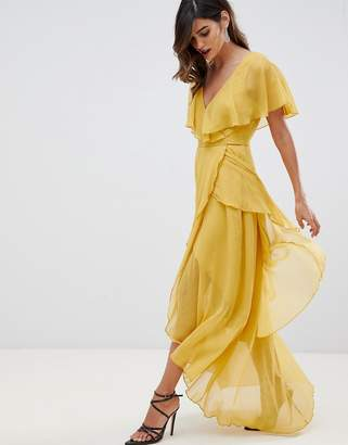 Asos Design DESIGN maxi dress with cape back and dipped hem