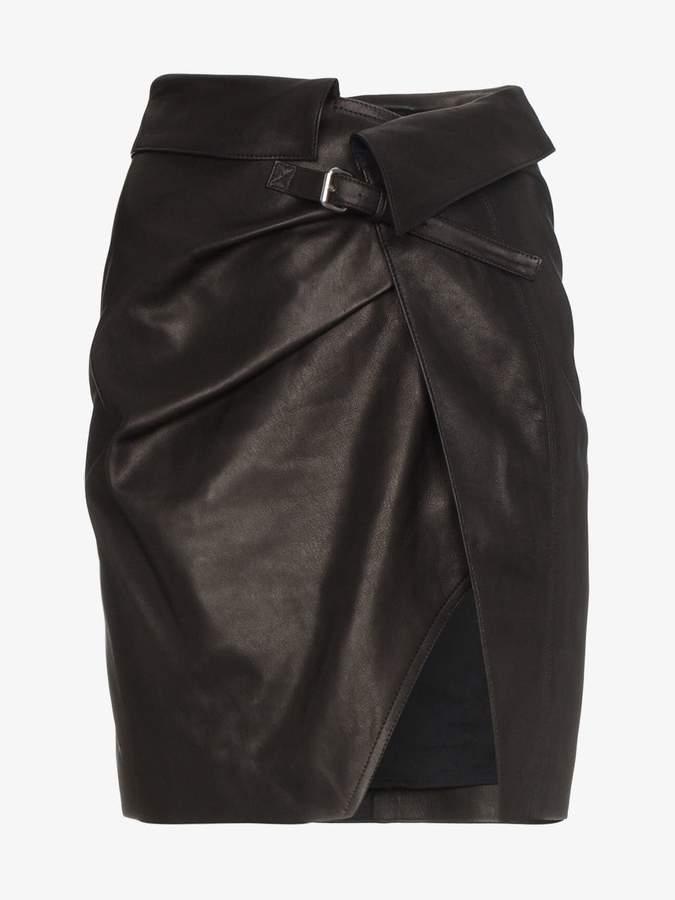 Mini Leather Wrap Skirt
