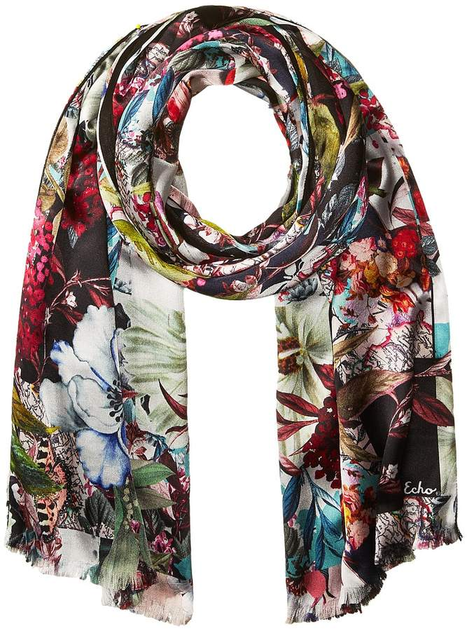 Echo Design - Floral Patchwork Double-Faced Scarf Wrap Scarves