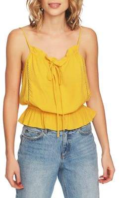 1 STATE 1.STATE Fagoting-Trimmed Spaghetti Strap Blouse