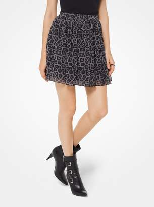 MICHAEL Michael Kors Leopard and Plaid Chiffon Mini Skirt