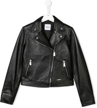 Moschino Kids TEEN biker jacket