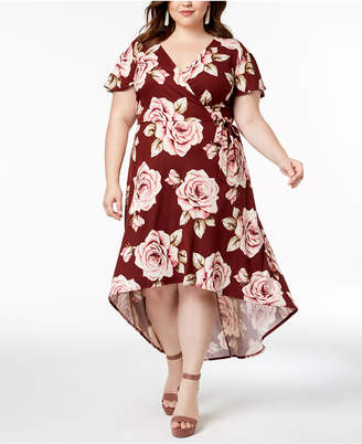 BCX Trendy Plus Size High-Low Faux-Wrap Dress