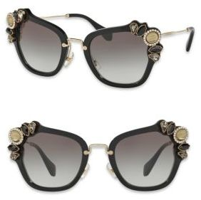 Miu Miu 51MM Crystal-Embellished Square Sunglasses $500 thestylecure.com
