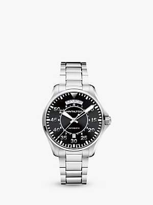 842689f2e Hamilton H64615135 Men's Khaki Aviation Pilot Day Date Automatic Bracelet  Strap Watch, Silver/Black