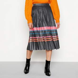 H! by Henry Holland - Multicoloured Metallic Stripe Pleated Midi Skirt