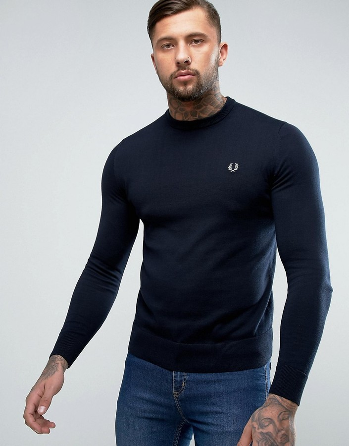 Fred Perry Fred Perry Crew Neck Cotton Sweater in Navy