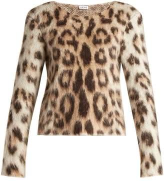Loewe Leopard Print Mohair Sweater - Womens - Leopard