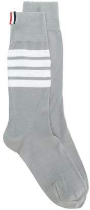 Thom Browne 4-Bar Stripe Lightweight Cotton Mid-Calf Socks