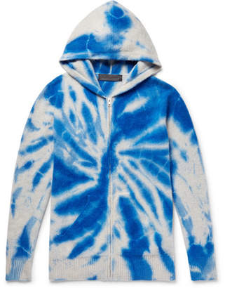The Elder Statesman Tie-Dyed Cashmere Zip-Up Hoodie