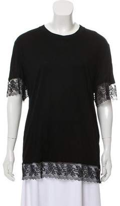 Givenchy Lace-Trimmed Short Sleeves T-Shirt
