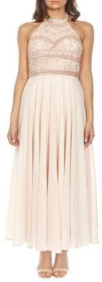 LACE & BEADS Sunrise Embellished Halter Maxi Dress