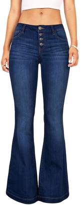 Suvimuga Womens Jeans Pants Low Rise Long Bell Bottoms Ladies Denim Flared Trousers XXL