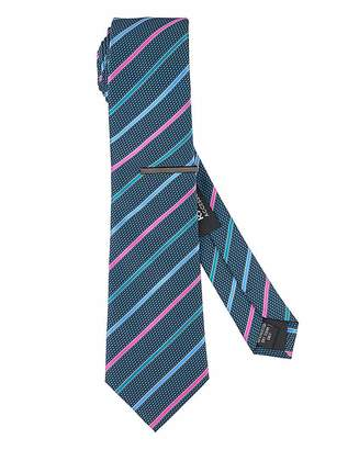 Jacamo Navy/Multi Stripe Tie with Tie Clip