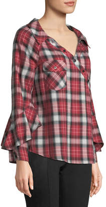 Laundry by Shelli Segal Plaid Wrap-Button Ruffle-Sleeve Blouse
