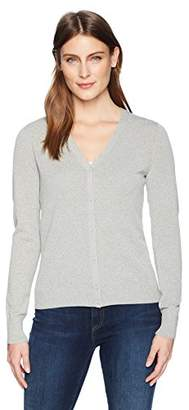 Lark & Ro Women's Buttoned Down V-Neck Cardigan Sweater