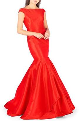 Mac Duggal Off-the-Shoulder Satin Mermaid Gown