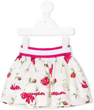 MonnaLisa rose and bow print skirt