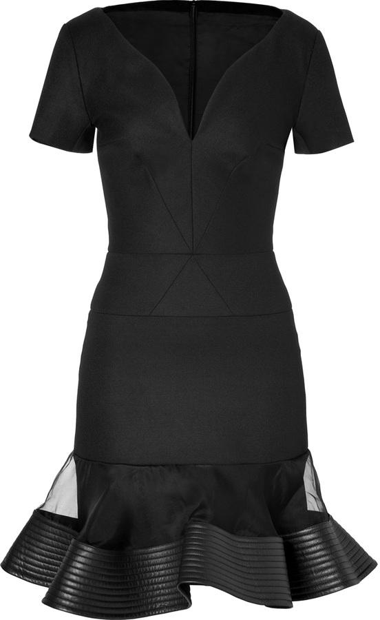 David Koma Curved Cutour Dress in Black