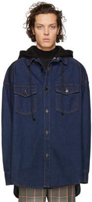 Juun.J Navy Denim Hooded Shirt