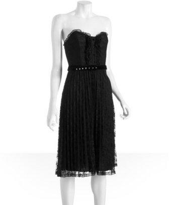 Betsey Johnson black floral tuxedo strapless dress