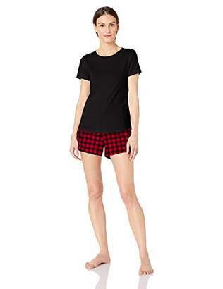 c65042a57f Amazon Essentials Women's Lightweight Flannel Short and Cotton T-Shirt  Sleep Set