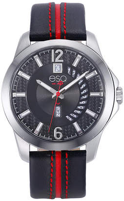 ESQ Men's ESQ090 Stainless Steel Watch, Black Dial, Day and Date Windows