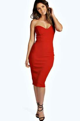 boohoo Viola Crepe Bandeau Bodycon Dress $26 thestylecure.com