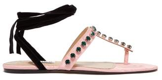 ATTICO The Vanessa Crystal Embellished Moire Sandals - Womens - Pink
