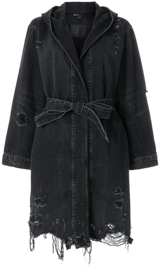 distressed denim coat