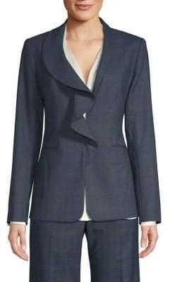 Elie Tahari Siyah Ruffle Front Plaid Suiting Jacket