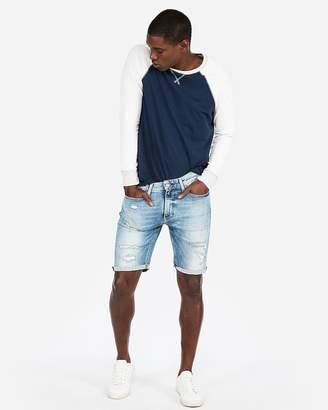 Express Slim 9 Inch Light Wash Destroyed Stretch Denim Shorts