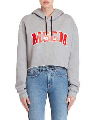 MSGM Logo Cropped Fleece Hoodie