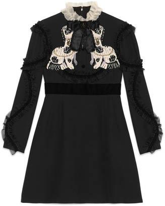 Crêpe wool-silk dress