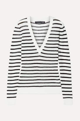Veronica Beard Dean Striped Ribbed Linen-blend Sweater - Ivory
