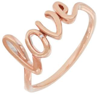 Carriere Rose Gold Plated Sterling Silver Diamond Cursive Love Ring