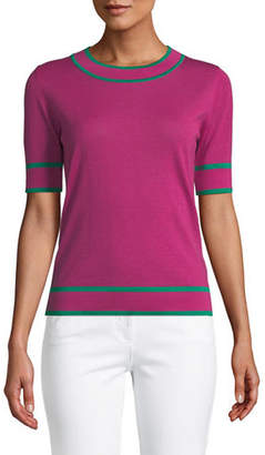 Escada Crewneck Short-Sleeve Wool Pullover Sweater w/ Contrast Trim