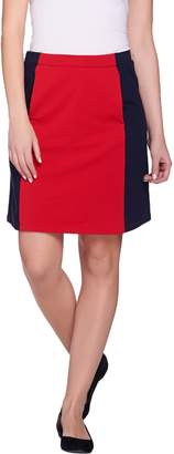 Susan Graver Weekend French Terry Color Block Comfort Waist Skort