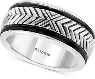 Effy Men's Leather Chevron Symbol Ring in Sterling Silver