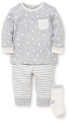 Little Me Heather Star T-Shirt, Jogger Pants & Socks Set