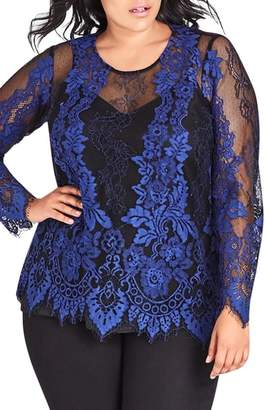 City Chic Electric Lace Blouse