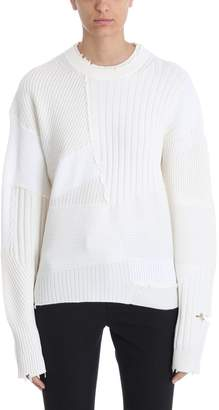 Helmut Lang Grunge Over White Wool Crew-neck Sweater