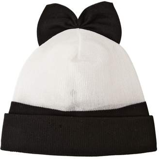 Federica Moretti Cotton Blend Beanie Hat With Bow
