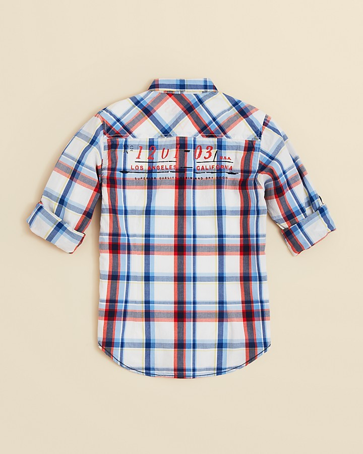 GUESS Boys' Plaid Roll Sleeve Shirt - Sizes S-XL