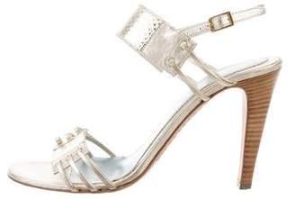 Lambertson Truex Metallic Ankle Strap Sandals