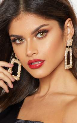 PrettyLittleThing Gold Textured Square Drop Statement Earrings